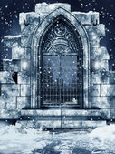 Ruined gate with snow — Stock Photo