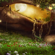 Stockfoto: Enchanted cave with flowers