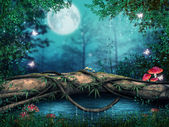 árbol por un estanque — Foto de Stock
