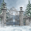Cemetery gate in a winter forest — Stock Photo
