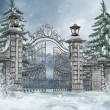Cemetery gate in a winter forest — Stock Photo #15217097