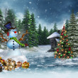 Snowman and Christmas gifts — Stockfoto