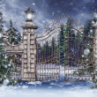 Vintage gate with Christmas trees - Stock Photo