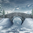 Bridge over a frozen river — Stock Photo