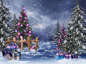 Winter forest with Christmas ornaments — Stock Photo