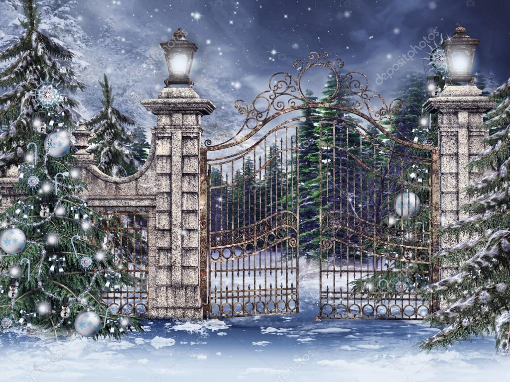 Vintage gate with Christmas trees in a winter forest — Stock Photo #15220581