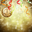 New Year background with a watch — Stock Photo