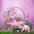 Stock Photo: Easter background with piglet