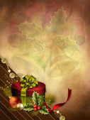 Christmas background with a gift — Stock Photo
