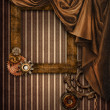 Vintage background with a curtain and frame - Zdjęcie stockowe