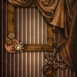 Vintage background with a curtain and frame - Stock Photo