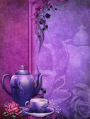 Purple background with a tea pot — Stock Photo