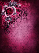 Gothic Valentine rose and ornaments — Stock Photo