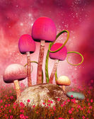 Magic mushrooms on a pink background — Stock Photo