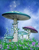 Blue and purple mushrooms — Stock Photo