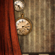 Stock Photo: Steampunk watches and curtain