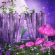 Purple meadow with a fence — Stock Photo