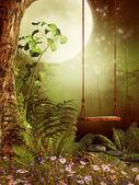 Huśtawka w lesie — Zdjęcie stockowe