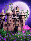 Fairy castle on a purple meadow — Stock Photo