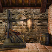Medieval blacksmith's room — Stock Photo
