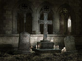 Old chapel with candles at night — Stock Photo