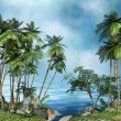Palm trees by the sea — Stock Photo