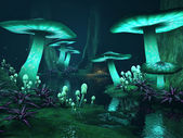 Dark forest with glowing mushrooms — Stock Photo