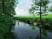Río y verde prado — Foto de Stock