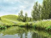 зеленый пруд в лесу — Стоковое фото