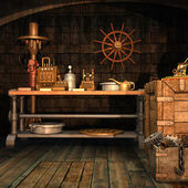 Steampunk workshop with tools — Stock Photo