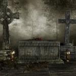 Dark cemetery with crosses — Stock Photo