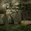 Medieval cemetery with bones — Stock Photo