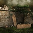 Old graveyard with a coffin, bones, and skulls — Stock Photo