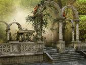 Marmeren kolommen met bloemen — Stockfoto
