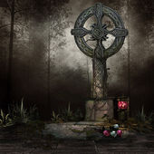 Tomb with a cross — Stock Photo