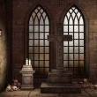 Stock Photo: Gothic crypt with bones