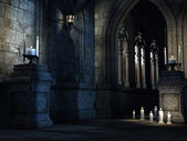 Gothic church with candles — Stock Photo