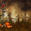 Halloween pumpkins on a meadow — Foto Stock