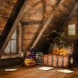 Stock Photo: Attic with pumpkins and candles
