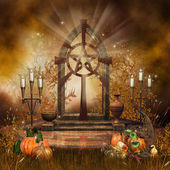 Gothic altar with cornucopia — Stock Photo