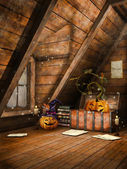 Attic with pumpkins and candles — Stock Photo