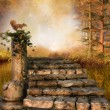 Autumn forest with stone stairs — Stock Photo