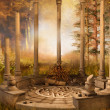 Ruined gazebo in autumnal forest — Stock Photo #32574309