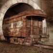 Old train in a tunnel — 图库照片