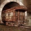 Old train in a tunnel — Stock Photo