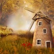 Autumnal landscape with a windmill — Stock Photo