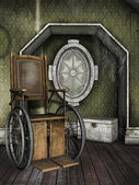Old wheelchair in a dusty room — Stock Photo