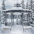Gazebo in the winter forest — Stock Photo