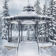 Stock Photo: Gazebo in winter forest