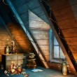 Colorful Christmas attic — Stock Photo